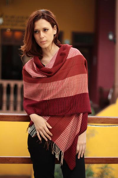 100% alpaca shawl, 'Huancayo Passion' - Handcrafted Alpaca Wool Striped Shawl