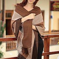 100% alpaca shawl, 'Huancayo Intensity' - Handwoven Peruvian Alpaca Wool Womens Shawl