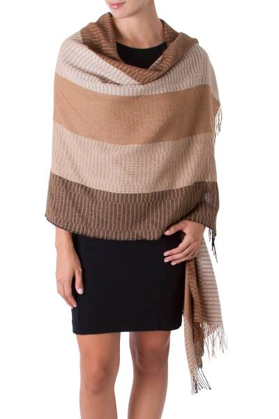 100% alpaca shawl, 'Huancayo Intensity' - 100% alpaca shawl