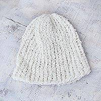 100% alpaca hat, 'Andean Clouds' - Alpaca Wool Hat from Peru