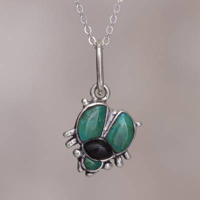 Chrysocolla and obsidian pendant necklace, 'Silver Scarab' - Chrysocolla and obsidian pendant necklace