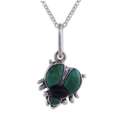 Chrysocolla and obsidian pendant necklace