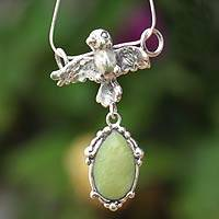 Serpentine pendant necklace, 'Silver Parrot' - Serpentine pendant necklace