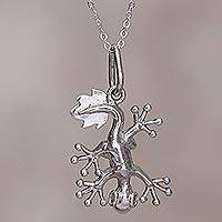 Silver pendant necklace, 'Gecko' - Handcrafted Sterling Silver Happy Lizard Pendant Necklace