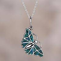 Chrysocolla pendant necklace, 'Cajamarca Butterfly'