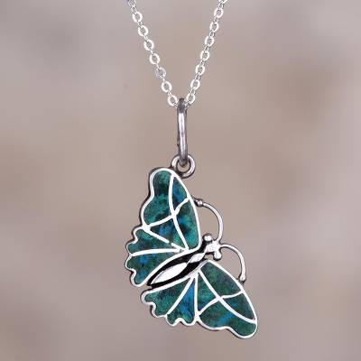 Chrysocolla pendant necklace, 'Cajamarca Butterfly' - Fair Trade Chrysocolla and Silver Butterfly Pendant Necklace