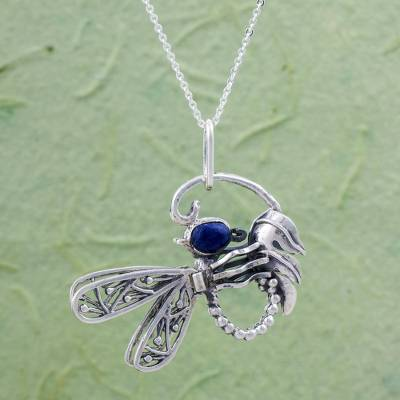 Sodalite pendant necklace, 'Andean Dragonfly' - Fine Silver and Sodalite Pendant Necklace from Peru