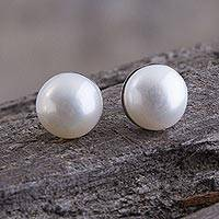 Cultured pearl stud earrings, 'White Light' - Handcrafted Fine Silver and Pearl Stud Earrings