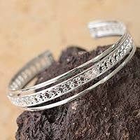 Sterling silver cuff bracelet, 'Filigree Illusion'
