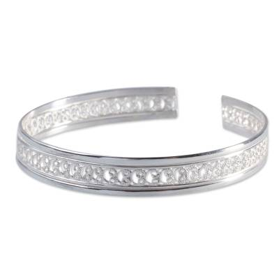 Sterling silver cuff bracelet, 'Filigree Illusion' - Fair Trade Sterling Silver Filigree Cuff Bracelet