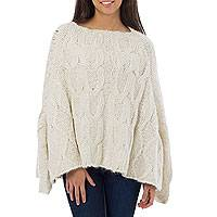 100% alpaca poncho, 'Andean Clouds' - Unique Knit Poncho