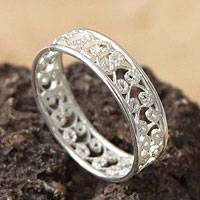 Sterling silver band ring, 'Royal Filigree'