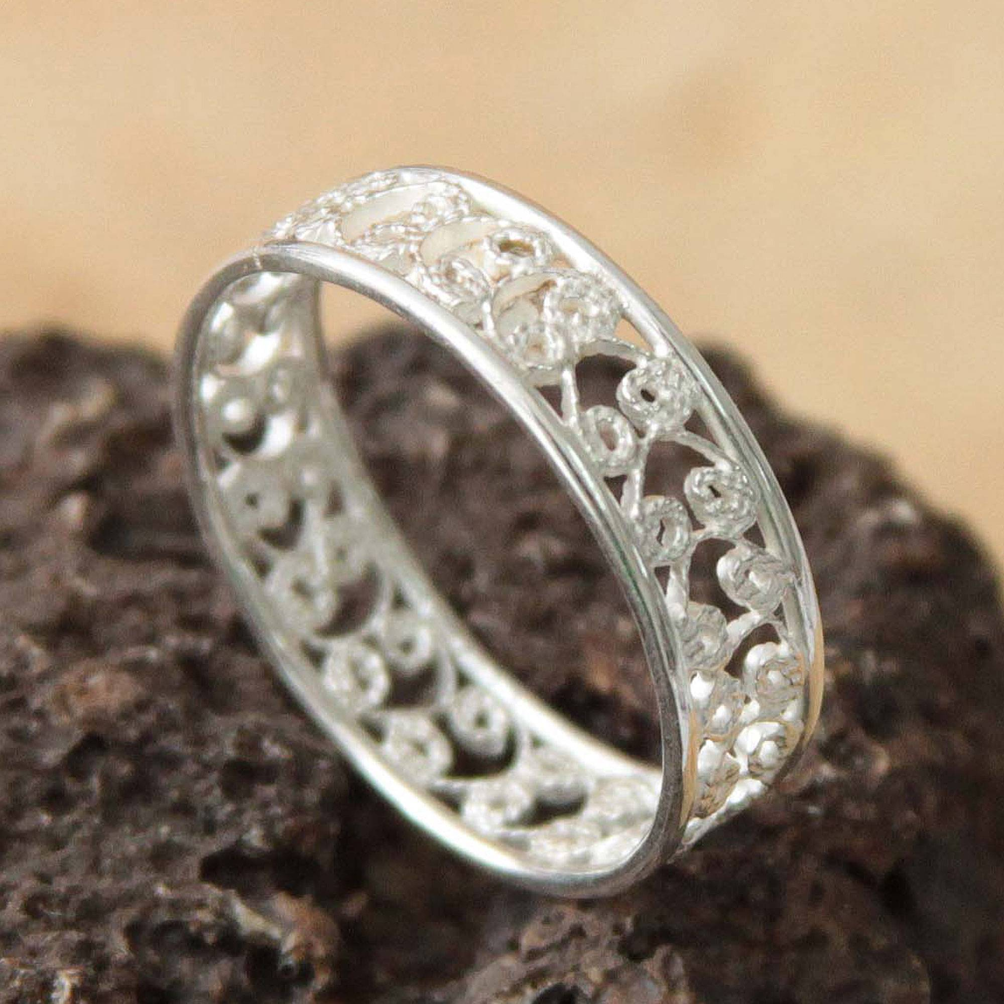 eternity pin statement filigree silver jewelry bands stacking ring band ornate engagement vogue trendy wedding wide authentic
