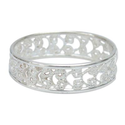 Sterling silver band ring, 'Royal Filigree' - Sterling Silver Filigree Ring from Peru