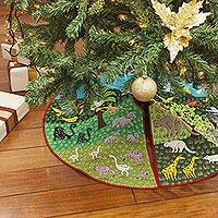 Applique Christmas tree skirt, 'Jungle Holiday'