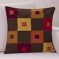 Alpaca blend cushion cover, 'Square Riddles' - Handcrafted Geometric Alpaca Wool Cushion Cover