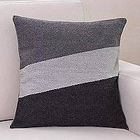 Alpaca blend cushion cover, 'Gray Mist' - Modern Alpaca Wool Blend Striped Cushion Cover