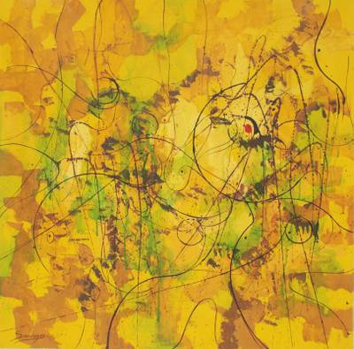 'Fantasy in Yellow' - Original Abstract Painting
