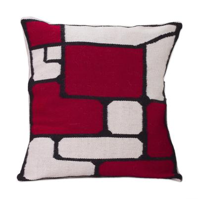 Alpaca cushion cover, 'Crimson Riddle' - Fair Trade Modern Alpaca Wool Cushion Cover