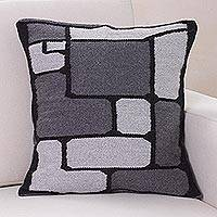 Alpaca cushion cover, 'Gray Riddle' - Peruvian Geometric Alpaca Wool Cushion Cover