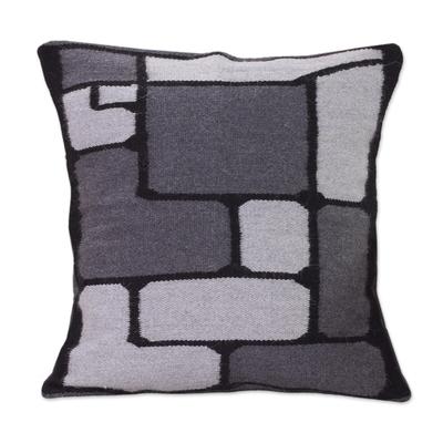 Alpaca cushion cover, 'Gray Riddle' - Peruvian Geometric Alpaca Wool Cushion Cover