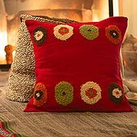 Alpaca cushion cover, 'Crimson Bouquet' - Alpaca cushion cover