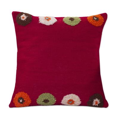 Alpaca cushion cover, 'Crimson Bouquet' - Alpaca cushion cover