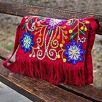 Wool shoulder bag, 'Flower Sisters' - Wool shoulder bag