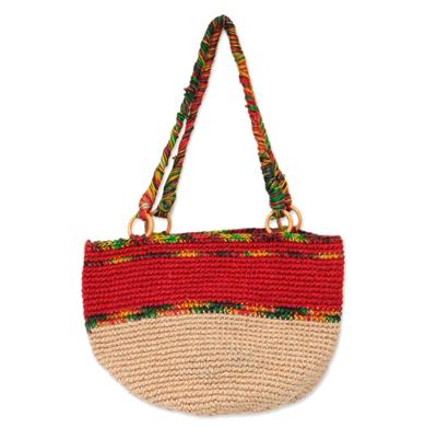 Novica Jute shoulder bag, Cajamarca Blooms
