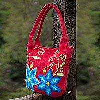 Wool shoulder bag, 'Andean Morning Glory' - Peruvian Women's Floral Wool Tote Bag