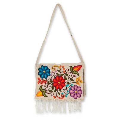 Artisan Crafted Floral Wool Embroidered Handbag