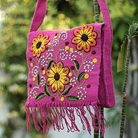 Wool shoulder bag, 'Sunflower Sisters' - Handwoven and Embroidered Wool Shoulder Bag