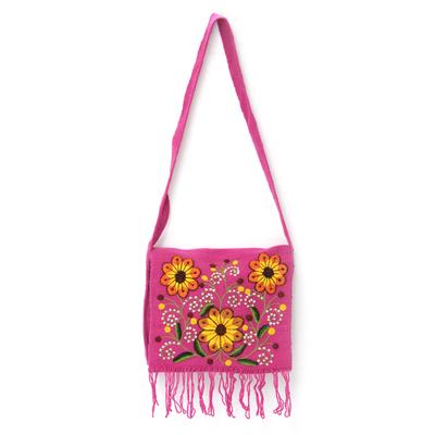 Novica Wool shoulder bag, Earthen Butterfly