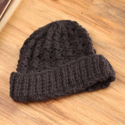 100% alpaca hat, 'Peruvian Espresso' - 100% alpaca hat