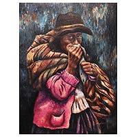 'Woman of Huancavelica' (2011) - Original Oil Painting Unframed Signed Peru