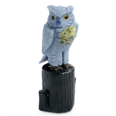 Celestite and serpentine sculpture, 'Blue Owl' - Celestite and Serpentine Gemstone Sculpture