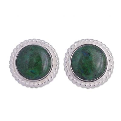 Hand Made Chrysocolla Button Earrings