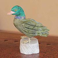 Serpentine and chrysocolla sculpture, 'Wild Duck' - Handcrafted Bird Sculpture