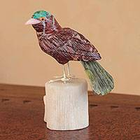 Garnet and serpentine sculpture, 'Red Bird' - Hand Carved Multigemstone Sculpture
