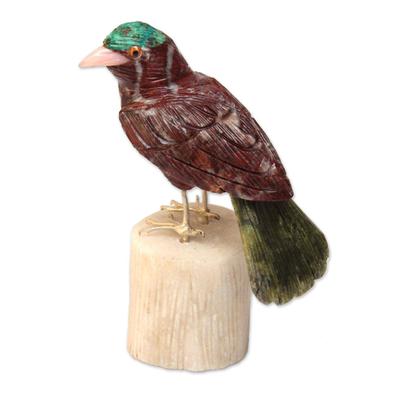 Garnet and serpentine sculpture, 'Red Bird' - Hand Carved Multigemstone Sculpture