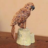 Aragonite and serpentine sculpture, 'Majestic Eagle' - Fair Trade Gemstone Brown Eagle Sculpture