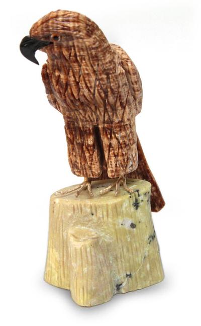Aragonite and serpentine sculpture, 'Majestic Eagle' - Fair Trade Gemstone Brown Eagle Sculpture