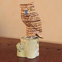 Aragonite and serpentine sculpture, 'Brown Owl' - Hand Carved Gemstone Sculpture