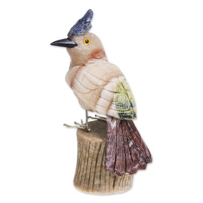 Calcite and garnet sculpture, 'Blue Crested Bird' - Handmade Calcite and Garnet Bird Sculpture