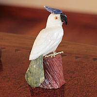Calcite and garnet sculpture, 'Perky Cockatoo' - Gemstone Bird Sculpture Calcite Hand Carved in Peru
