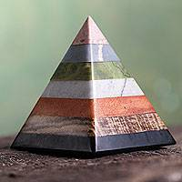 Onyx and rhodochrosite sculpture, 'Energy of the Pyramid'