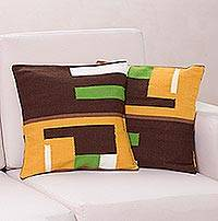 Alpaca blend cushion covers, 'Andean Moon' (pair) - Geometric Alpaca Wool Patterned Cushion Covers (Pair)