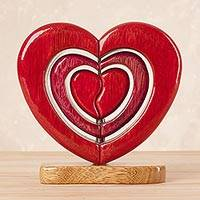 Wood sculpture, 'Heart Trio' - Handcrafted Wood Heart Sculpture