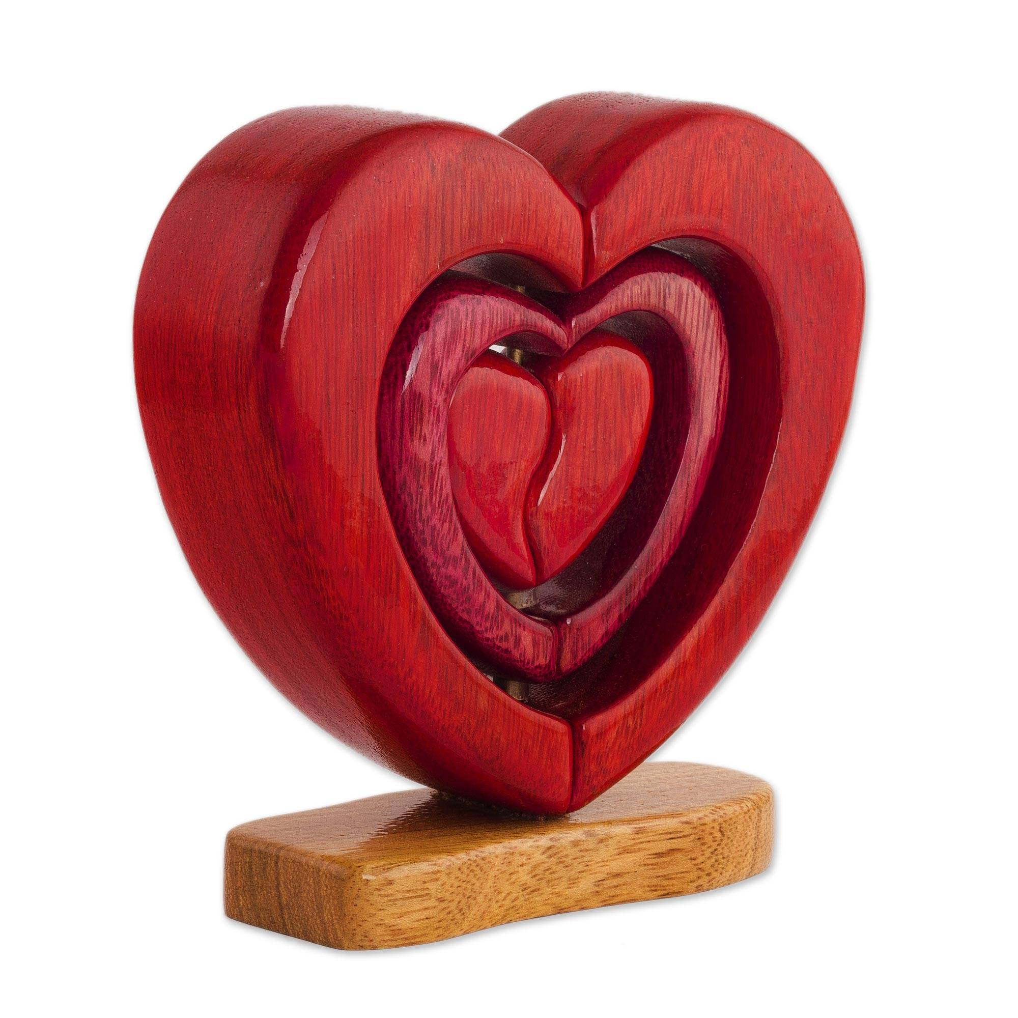Unicef Market Handcrafted Wood Heart Sculpture Nested Hearts