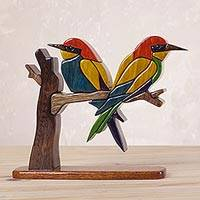 Wood sculpture, 'Bee Eaters' - Wood Bird Sculpture